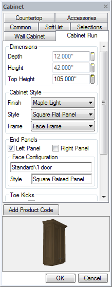 Cabinet End Panel Dialog