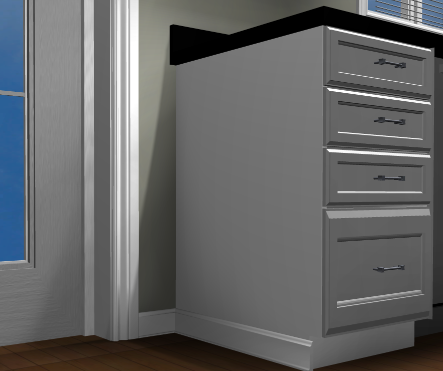 Baseboard on a Cabinet