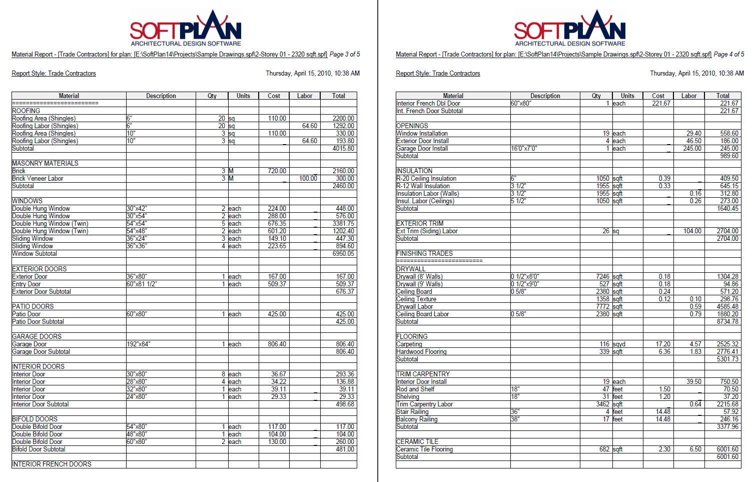 Softplan Home Design Software Softlist Sample Material Reports